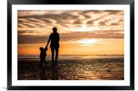 Family in the Worthing Sunset, Framed Mounted Print