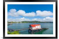 Old historic lifeboat station and slipway at Tenby, Framed Mounted Print