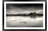 A very still Sound of Raasay and mountains B&W, Framed Mounted Print