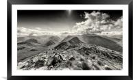 View down Buachaille Etive Mor. (B&W), Framed Mounted Print