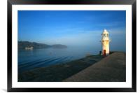 Brixham harbour wall lighthouse, Framed Mounted Print