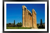 Temple of Olympian Zeus in Winter Sunshine, Framed Mounted Print