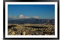 Athens Cityscape and Mountains, Framed Mounted Print