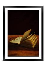 A Book and Glasses, Framed Mounted Print