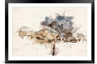 Athens Cityscape Digital Watercolour, Framed Mounted Print