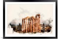 Temple of Zeus Digital Watercolour, Framed Mounted Print