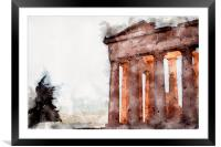 The Parthenon View Digital Watercolour, Framed Mounted Print