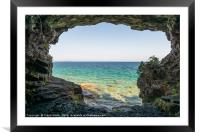 View from a cave on Bruce Peninsula, Ontario, Framed Mounted Print