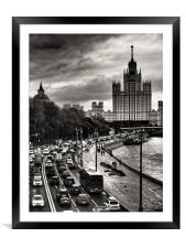 Evening in City, Framed Mounted Print