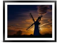 Thurne Mill by Moonlight, Framed Mounted Print
