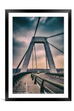 Cable-stayed bridge at Malpensa Airport, Italy, Framed Mounted Print