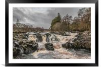 Salmon Leap Falls, River Tees, in Wintry Sun, Framed Mounted Print