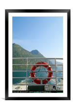Ferry ride through a fjord, Framed Mounted Print