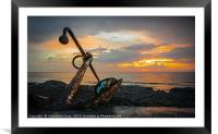 Sunset and Anchor, Framed Mounted Print