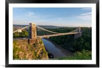 Summer Evening Bristol Clifton Suspension Bridge, Framed Mounted Print
