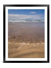 Westward Ho beach with waves approaching the shor, Framed Mounted Print