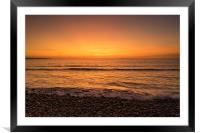 Waves on the sunset lit shoreline at Westward Ho, Framed Mounted Print