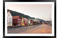 The Bryggen Hanseatic Wharf of Bergen waterfront., Framed Mounted Print