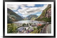 Panoramic view perspective of the Geiranger harbor, Framed Mounted Print