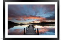 Rigg Wood Jetty sunset., Framed Mounted Print
