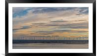 Sunset over the wind farm, Framed Mounted Print