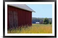 Rural Landscape with Three Barns, Framed Mounted Print