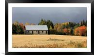Stone Barn and the Moody Sky, Framed Mounted Print