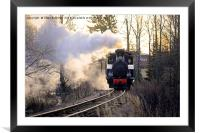 Steam Locomotive Pulling Carriages in Morning Ligh, Framed Mounted Print