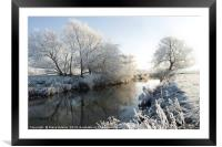 Winter on the River Lugg,  Herefordshire, Framed Mounted Print