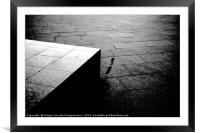 Street pavement and concrete block artistic black , Framed Mounted Print