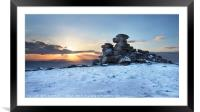 Great Staple Tor in the Snow, Framed Mounted Print