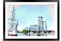 Marina and waterfront in Gdynia, Framed Mounted Print