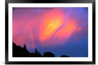 A dramatic rainbow at sunset over Ambleside, Framed Mounted Print