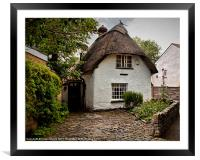 White Thatched Cottage, Framed Mounted Print
