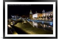 Liverpool Waterfront at Night , Framed Mounted Print