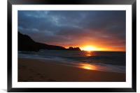 Cornish Sunset Over Water , Framed Mounted Print