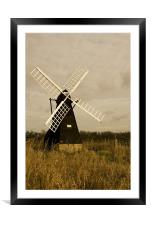 Ageing Windmill , Framed Mounted Print