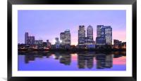 Docklands Canary Wharf sunset, Framed Mounted Print