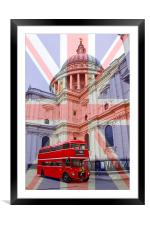 Red Bus and St Pauls Union Jack Flag, Framed Mounted Print
