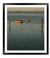 Sunset glow on the Boats, Framed Mounted Print