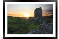 Smailholm Tower Sunset, Framed Mounted Print