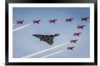 Vulcan XH558 and The Red Arrows, Framed Mounted Print