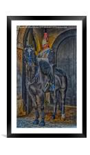 Horse Guard on duty , Framed Mounted Print