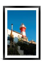 Light house at the old Jaffa port, Israel, Framed Mounted Print