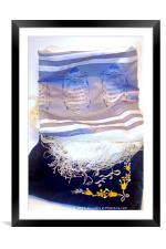 Tallit and an elaborated decorated talit bag, Framed Mounted Print