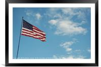Americav flag with clouds and blue sky background, Framed Mounted Print