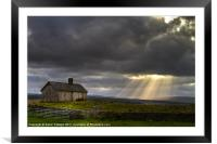 Barn and sunbeams, Framed Mounted Print
