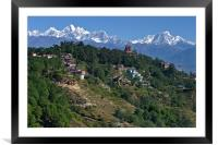 View of the Himalayas from Nagarkot Nepal, Framed Mounted Print
