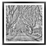 Nearly Home in the Dark Hedges, Framed Mounted Print