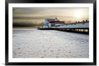 Snow on the beach, Framed Mounted Print